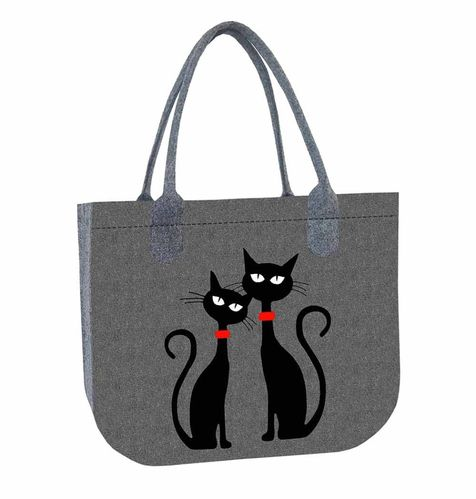 Filztasche LADY XL »Black Cats«
